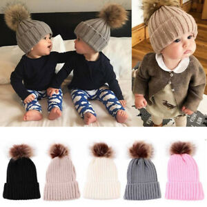 9ed8b482bf9 Baby Boys Girls Warm Beanie Ski Hat Winter Knitted Wool Faux Fur Pom ...