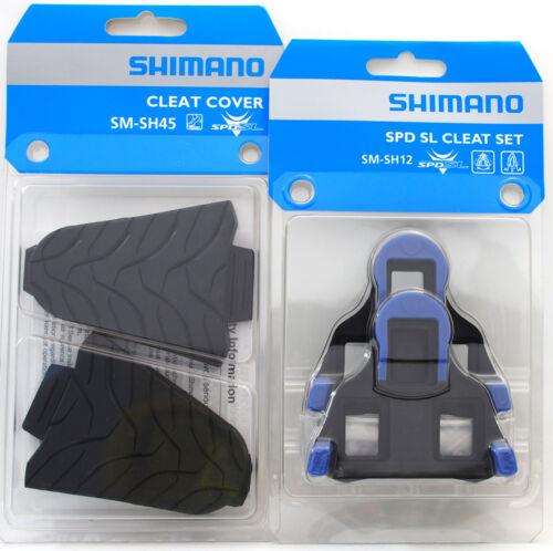 Shimano Road SPD-SL Pedal SM-SH12 2 Deg Float Shoe Cleats /& SM-SH45 Cover Set