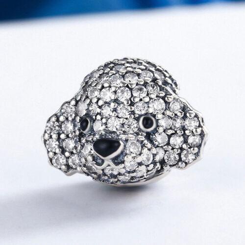 Authentic 925 Sterling Silver Cute Poodle Clear CZ Pave Charm Bead fit Bracelet