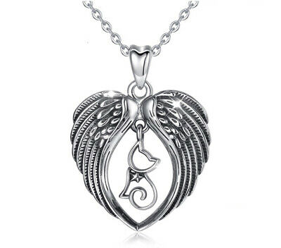"""925 Sterling Silver Solid Angel Fairy Wing Double Sided Pendant     1.1//2/"""""""