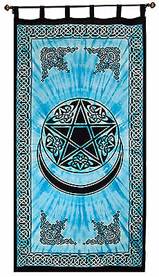 """Turquoise Pentacle Curtain 82"""" Tie-Dye Wicca Pagan Tapestry Cotton Pentagram NEW"""