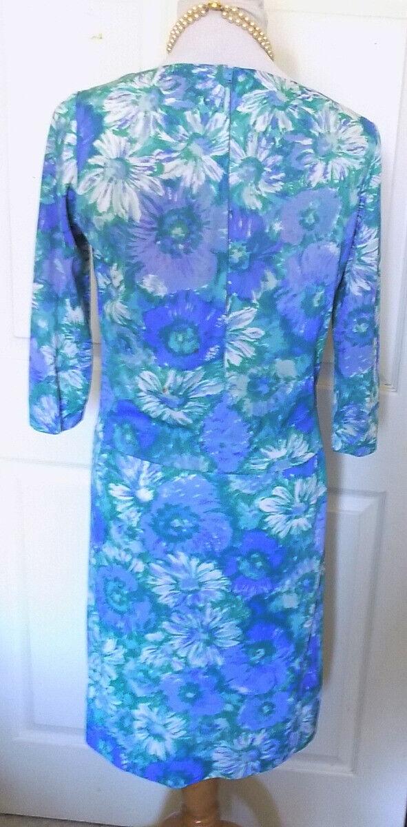 Vintage 60s Blue Floral Two Piece Skirt Set Sacon… - image 4