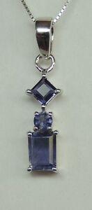 1-1-Carat-Iolith-Anhaenger-925-Silber-Wassersaphir-Collier-Kette-Luchssaphir