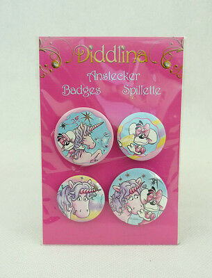 Diddlina 4 Anstecker mit Diddlmaus Diddlina /& einem Einhorn Badges Depesche 5631
