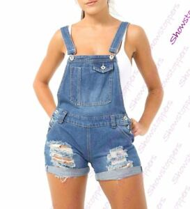 discount shop many fashionable footwear Details about Womens Ripped Dungaree Shorts Denim Short Dungarees Size 6 8  10 12 14 Denim Blue
