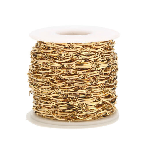 Handmade Stainless Steel Gold Plated Stick Charms Connect Chains for DIY Jewelry