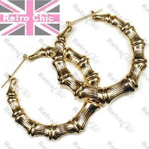 Big gold bamboo hoop earrings