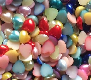 200-X-Mixed-Colour-Heart-Pearl-Acrylic-Flatback-Embellishments-8mm-Approx