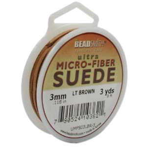 Ultra Micro Fiber 3mm Suede Cord 3 yards Camel or Light Brown