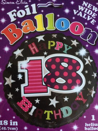 """18/"""" 18th Anniversaire Fête Black//Pink 18th Joyeux Anniversaire Foil Balloon"""