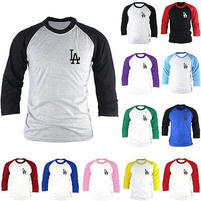 Los Angeles Dodgers Baseball Tees Raglan Blue//Gray S // M // L // XL 2XL//3XL