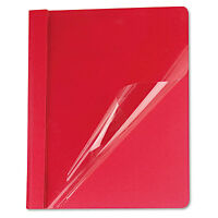 Universal Clear Front Report Cover Tang Fasteners Letter Size Red 25/box 57123 on sale