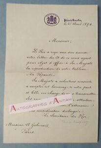 P-de-BORCHGRAVE-Palais-de-Bruxelles-Roi-Belgique-Tableau-Gallimard-Lettre-1874