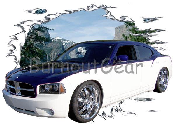2007 Blau Dodge Charger RT Custom Hot Rod Mountain T-Shirt 07 Muscle Car Tees