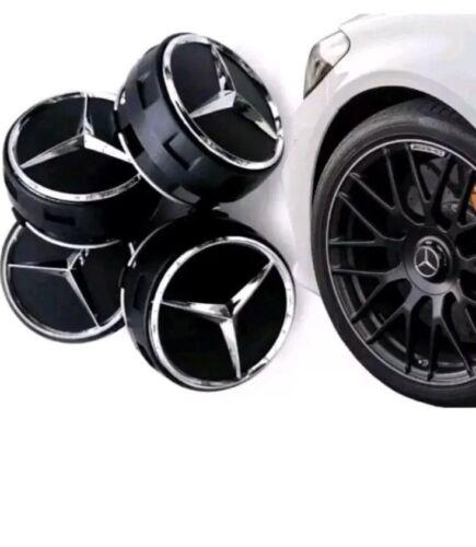 X 4 Mercedes AMG Black Centro De Rueda Caps 75MM se adapta a C E M A45 clase C63 C43 E63