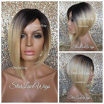 Short Straight Asymmetrical Bob Full Wig Blonde Dark Roots Light Yaki Heat Safe