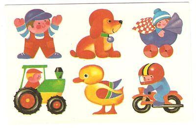 100% Wahr Abziehbild Schiebebild Spielzeug Ddr 1988 Junge Hund Baby Traktor Ente Motorrad