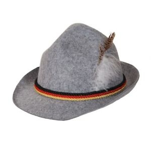 Costume Accessory Soft Felt Alpine Hat w// Braids and Feather