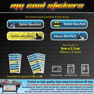 808975397240 Large 9cm Batman Personalised Vinyl Name Labels - school, toy, drink ...