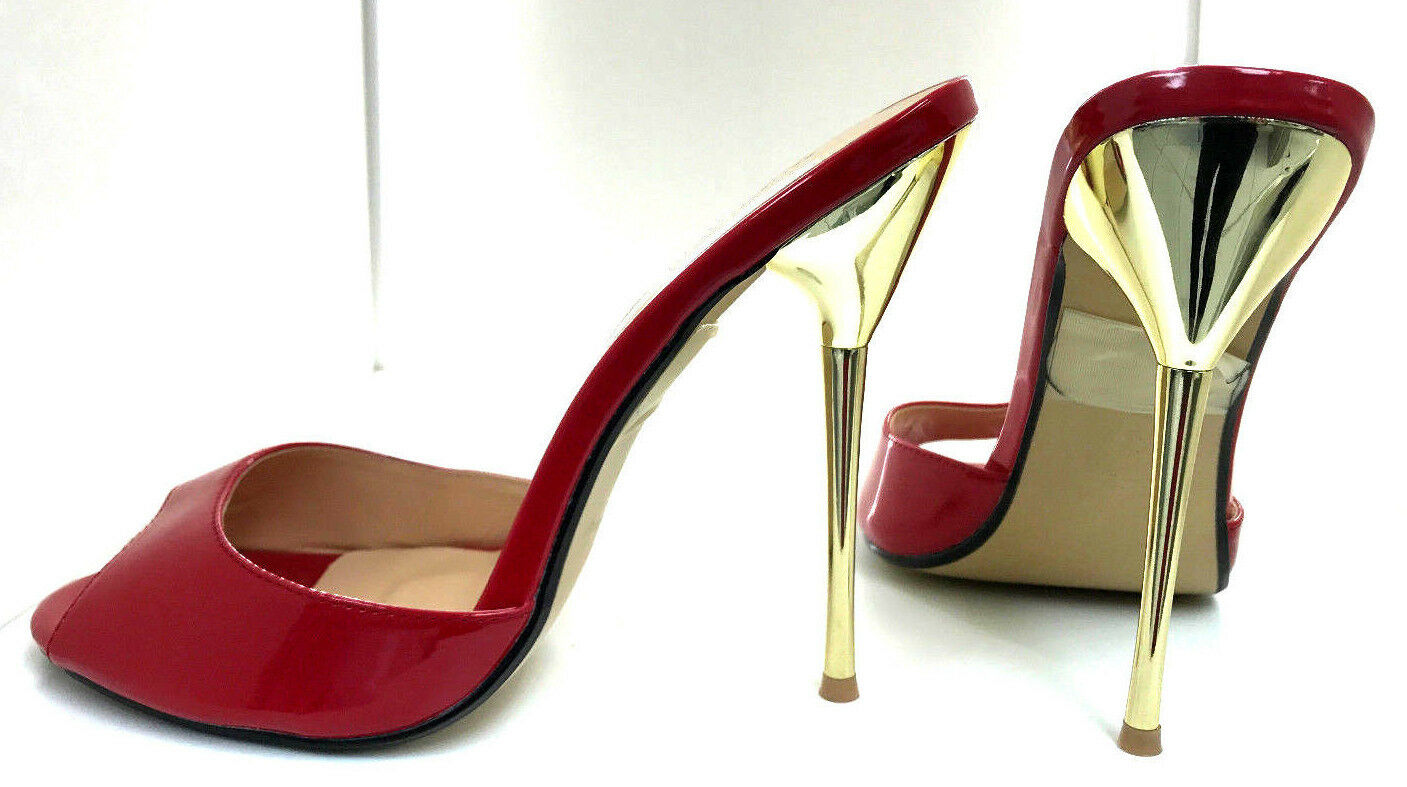Descuento barato 14 cm Sexy sky high heels patent red sandals fetish high heels US12 43