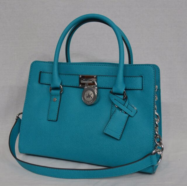 Michael Kors Purse Handbag Hamilton Ew Satchel Saffiano Leather Tile Blue