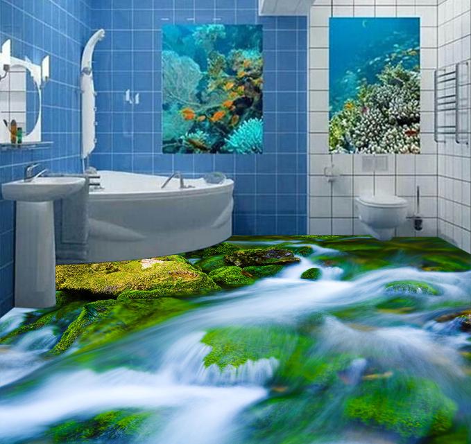 3D Rapids Moss Stone 743 Floor WallPaper Murals Wall Print Decal AJ WALLPAPER US