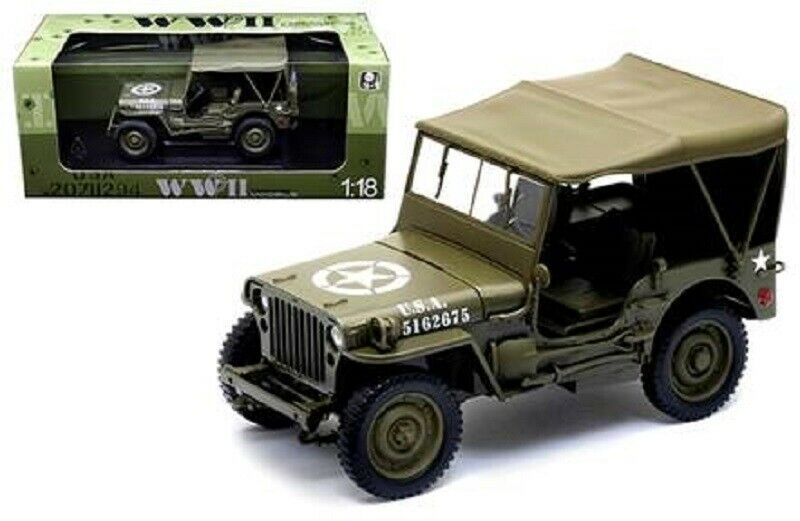Welly 1 18 US Army 1 4 TON Willys Jeep-Top Up,  WE18036H