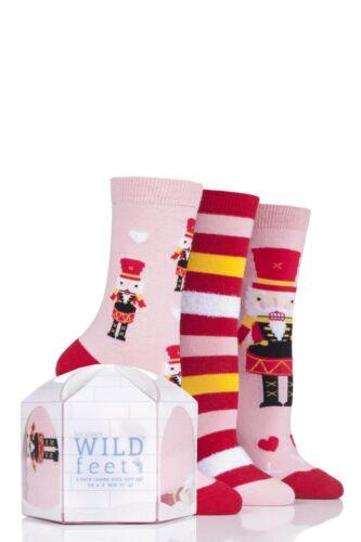 Donna 3 Paio SockShop Wild Piedi Regalo Inscatolato Schiaccianoci Calzini Di Cotone