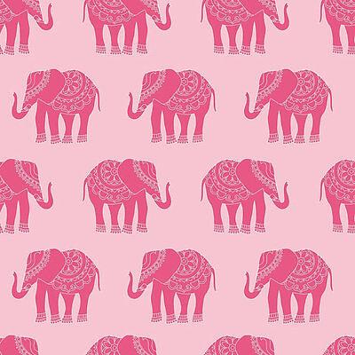 Fat Quarter Madhuri Pink Elephants Quilting Cotton Quilting Fabric  Riley Blake