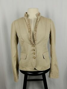 J-Crew-Women-039-s-Jacket-Blazer-Beige-Tan-100-Cotton-Size-2