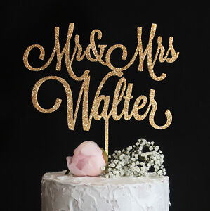 Custom Wedding Cake Topper Personalized with Last Name Mr and Mrs Gold Glitter