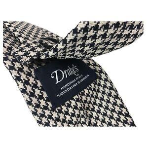 DRAKE-039-S-cravatta-uomo-sfoderata-cm-7-bianco-nero-100-seta-MADE-IN-ENGLAND