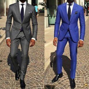 Men 2pcs Tuxedos Groom Dark Gray Blue Wedding Suit Party Dinner Prom