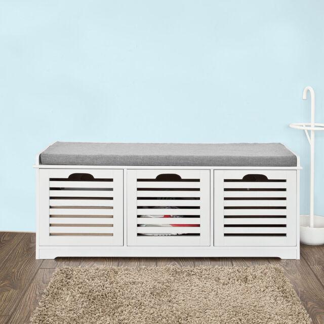 So Padded Shoe Storage Bench With Drawers Hallway Ottoman Seat Fsr23 W