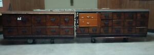 Antique Original Sherer Store File Cabinet Counter 14' 2pc Set Heavy Wear/Damage