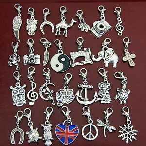 tibetan silver clip on charms for charm bracelets keyring