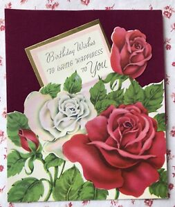 Image Is Loading Vintage 1940s UNUSED Birthday Greeting Card Roses On