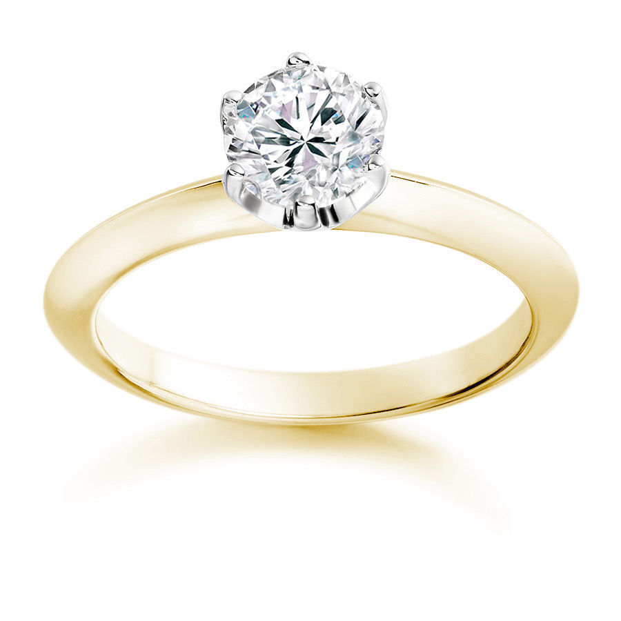 Classy 0.40 Cts Round Brilliant Cut Natural Diamonds Solitaire Ring In 18K gold