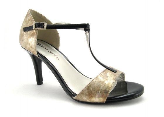 Tamaris gold And Black Open Toe Imitation Snake Skin Ankle Strap Stiletto Heels