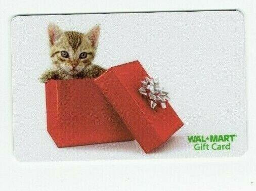 Walmart Gift Card Christmas - Kitten in Box - Older - No Value - I Combine Ship