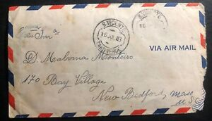 1953-S-Vicente-Cabo-Verde-Portugal-Airmail-Cover-To-New-Bedford-MA-USA