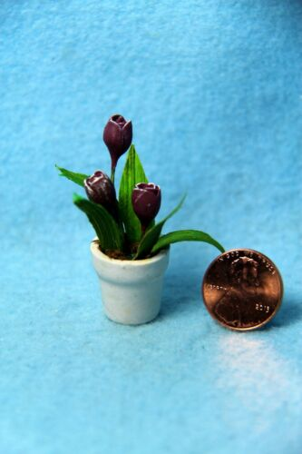 Dollhouse Miniature Purple Tulips Flower in White Pot F2035B2