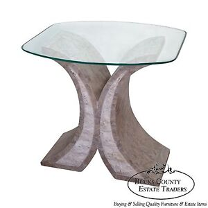 Details About Maitland Smith Tessellated Stone Glass Top Side Table