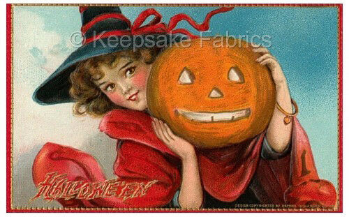 Witch Black Hat Holds Pumpkin Quilt Block Multi Sizes FrEE ShiPPinG WoRld WiDE