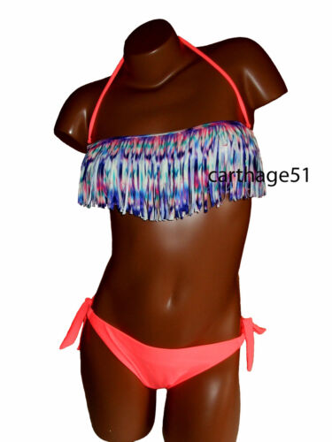 Rose orange corail bleu L  40 Maillot de bain femme bikini à Franges