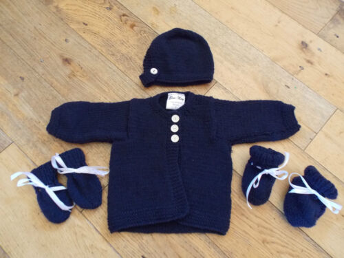 New Baby Cardigan,Hat 6-9 Months 3-6 Booties Mitten Set Hand Knitted 0-3