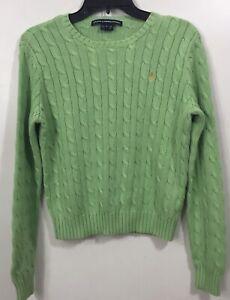 Ralph-Lauren-Sport-Women-039-s-Cable-Knit-Crew-Neck-Green-Sweater-Sz-L