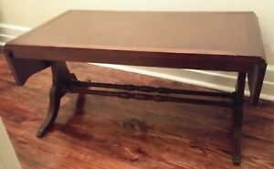 Image Is Loading Antique Mahogany Pencil Inlaid Dropleaf Coffee Table  Leather