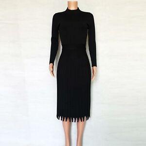 Women-039-s-Ribbed-Long-Sleeve-Sweater-Dress-Mock-Neck-Slim-Fit-Knitted-Long-Dress