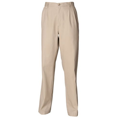 Henbury Teflon Coated Double Pleated Chino Trousers H600-Formal Office Wear Pant